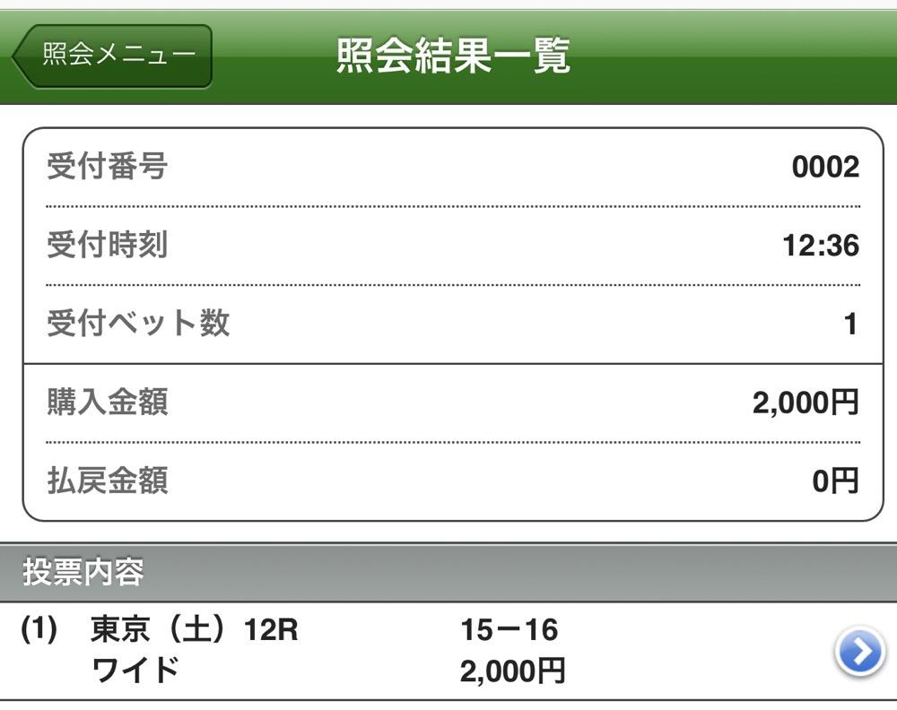 東京12R馬券