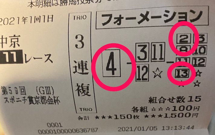 京都金杯の購入馬券(の一部)