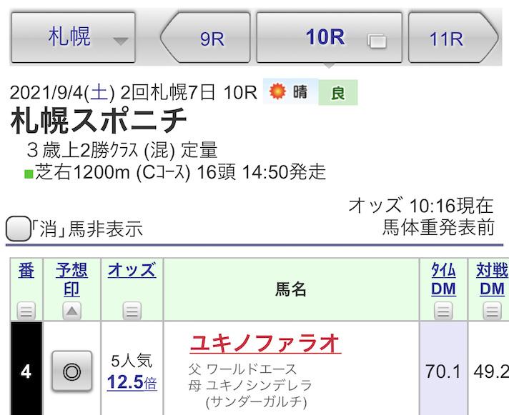札幌10R札幌スポニチ賞の予想印